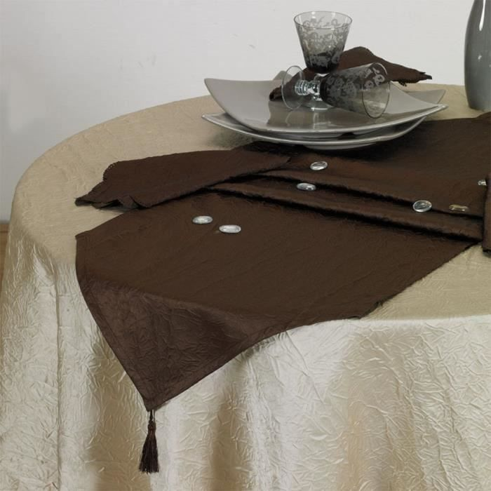 Chemin de table froiss 40x140 chocolat antitache achat - Chemin de table lumineux ...