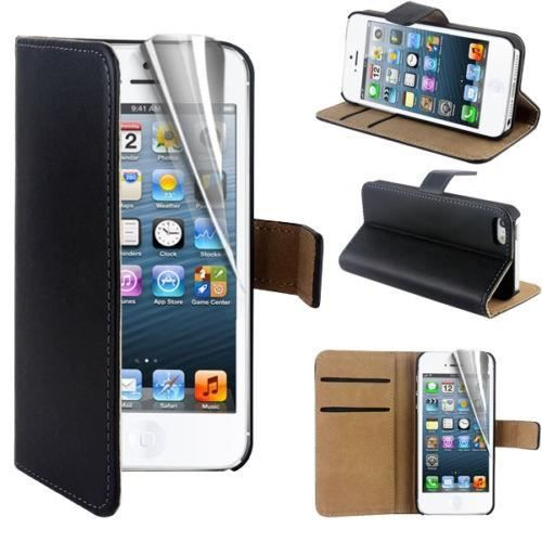 coque portefeuille iphone 5 5s noir etui housse. Black Bedroom Furniture Sets. Home Design Ideas