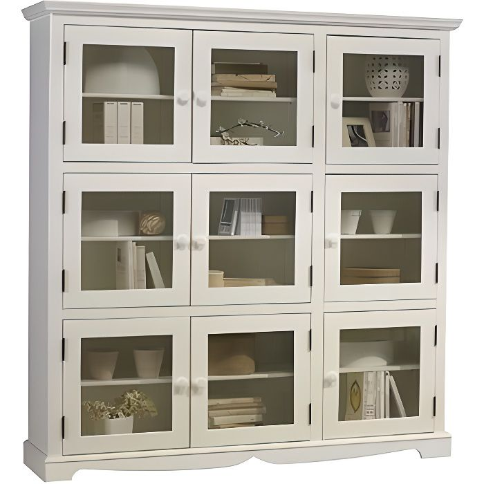 biblioth que blanche 9 portes vitr es de style achat vente biblioth que biblioth que. Black Bedroom Furniture Sets. Home Design Ideas