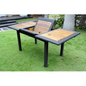Table de jardin en teck r sine lombok ratan achat for Vente table jardin