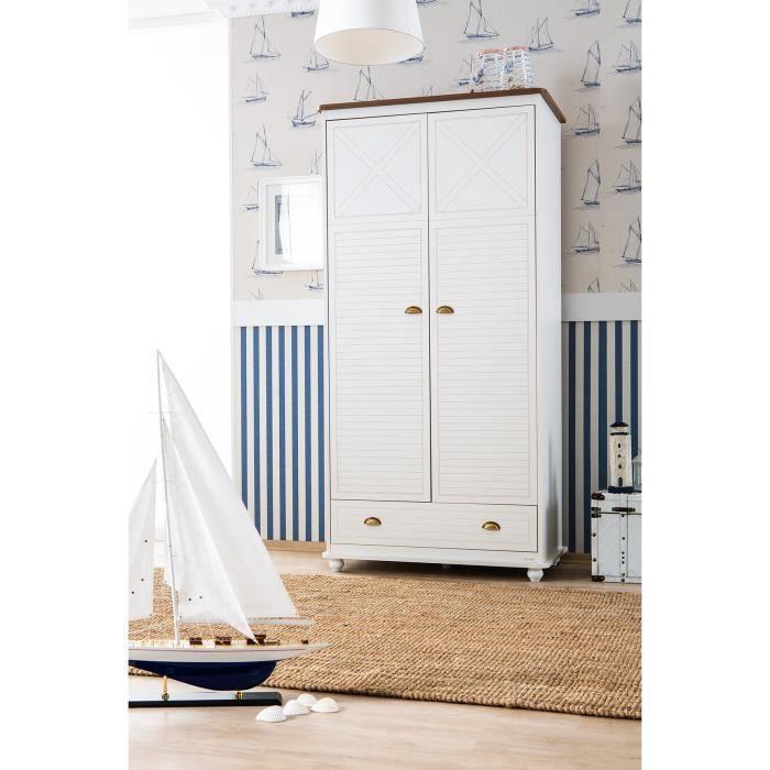 Armoire 2 Portes Et 1 Tiroir Coloris Blanc Et Dore Achat Vente Armoire De Chambre Armoire 2 Portes Et 1 Tiroi Cdiscount
