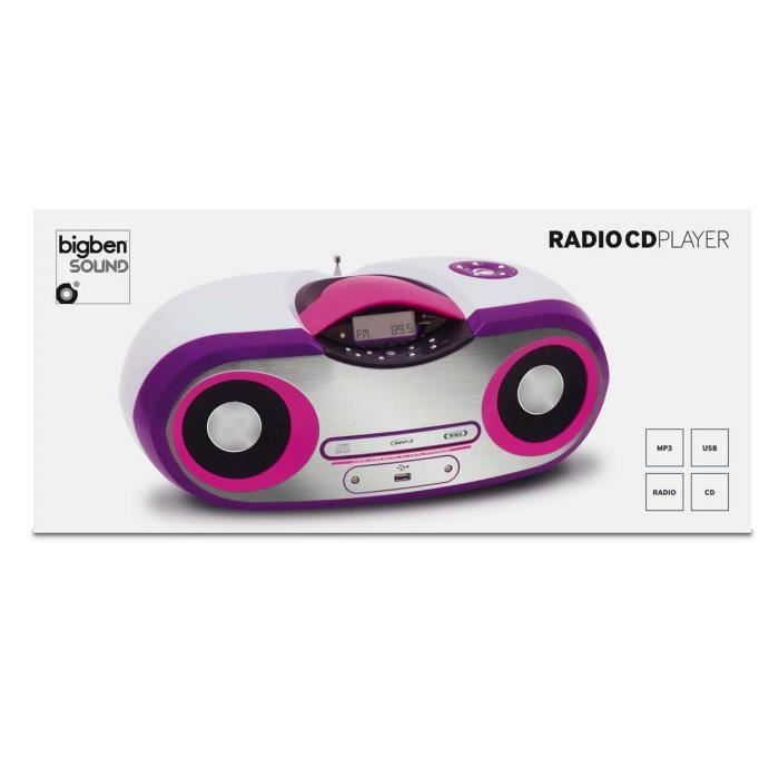 lecteur cd radio mp3 usb portable blanc et rose radio cd cassette avis et prix pas cher. Black Bedroom Furniture Sets. Home Design Ideas