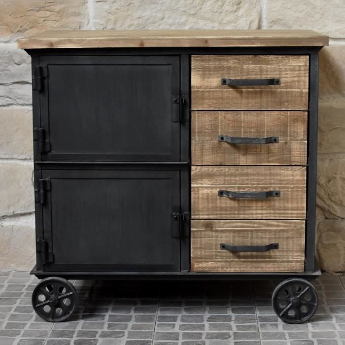 meuble industriel campagne en bois et fer bahut enfilade. Black Bedroom Furniture Sets. Home Design Ideas