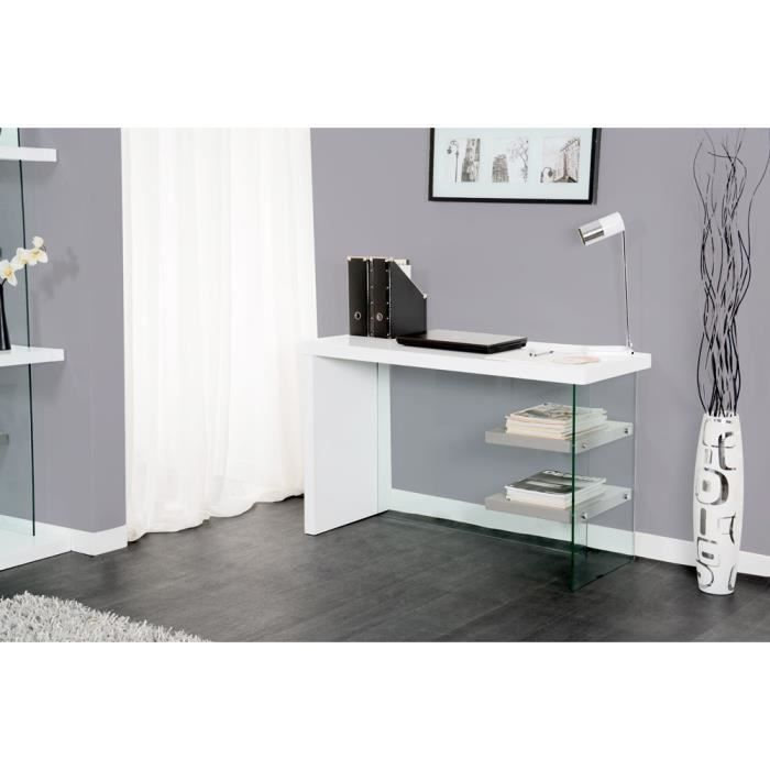 bureau laque foxy blanc gris achat vente bureau bureau laque foxy blanc gris cdiscount. Black Bedroom Furniture Sets. Home Design Ideas
