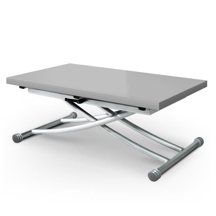 Table basse relevable carrera gris laqu achat vente for Table basse relevable blanc laque