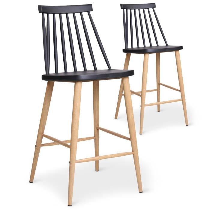 lot de 2 chaises de bar scandinaves trouville noir achat vente tabouret de bar noir cdiscount. Black Bedroom Furniture Sets. Home Design Ideas