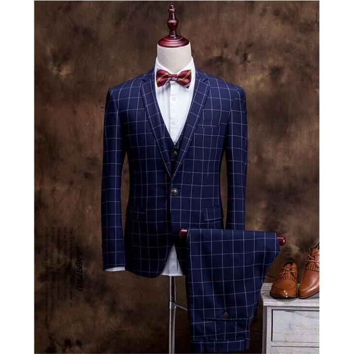 style de uk costume d affaires hommes mariage ensemble pantalon et gilet bleu achat vente. Black Bedroom Furniture Sets. Home Design Ideas