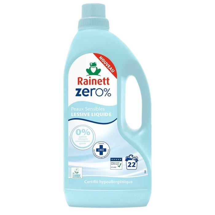 LESSIVE Rainett ZERO% Lessive Liquide Peaux Sensibles 1,5L