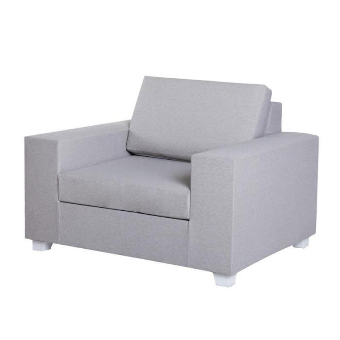 Ensemble table et chaise de jardin Fauteuil Textilène Gris - BELITUNG - L 110 x l 88