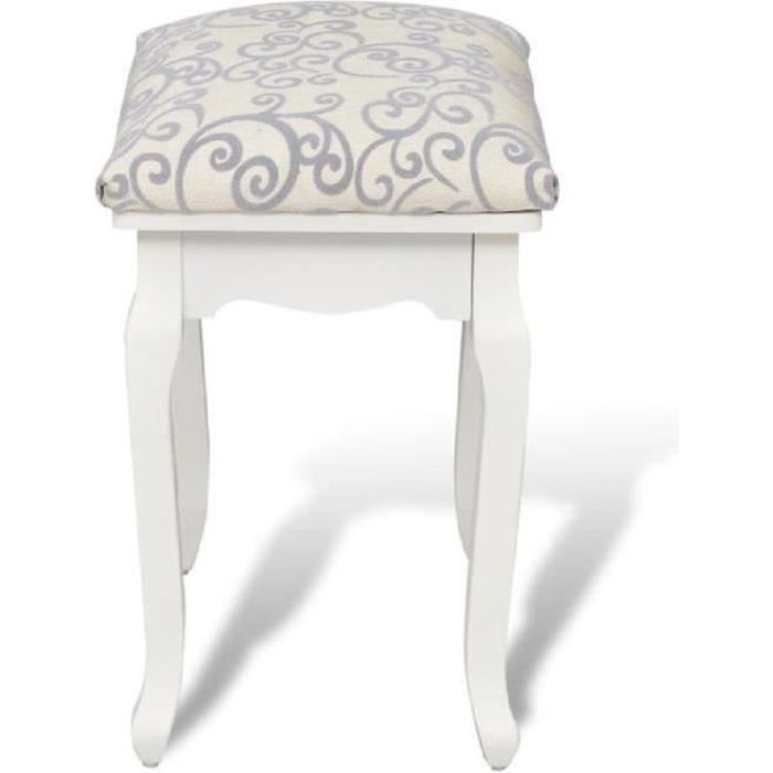 tabouret pouf pour coiffeuse en bois blanc achat vente tabouret bois cdiscount. Black Bedroom Furniture Sets. Home Design Ideas