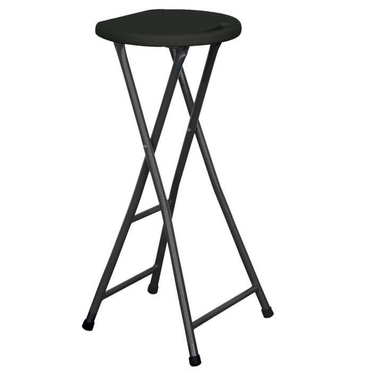 tabouret pliant de bar noir achat vente tabouret noir cdiscount. Black Bedroom Furniture Sets. Home Design Ideas