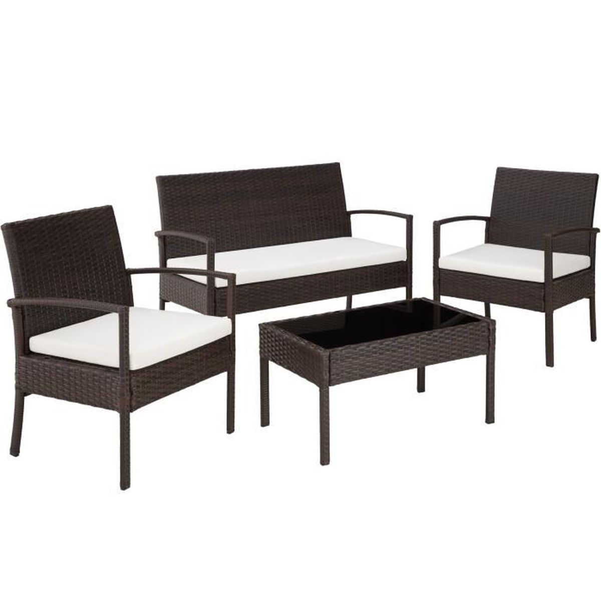 salon de jardin sparte 2 fauteuils 1 canap 1 table en r sine tress e poly rotin marron. Black Bedroom Furniture Sets. Home Design Ideas