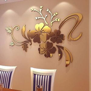 MIROIR Sticker 3d miroir art floral amovible Sticker  mur