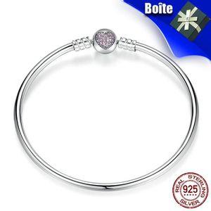 BRACELET - GOURMETTE Pandora Style Bracelets Argent 925 21CM Forme de C