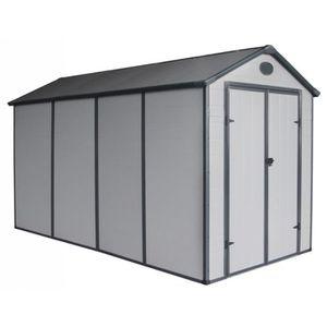 ABRI JARDIN - CHALET Abri de jardin en résine gris 6,99m² + kit de fond