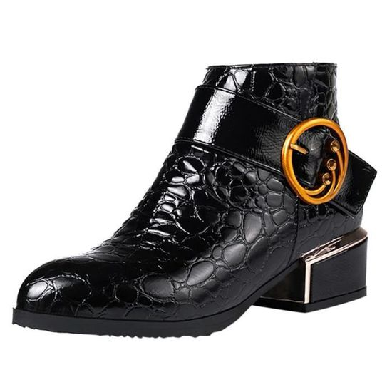 Femmes Bottines Side Chaussures Zipper Boot Crocodile Talons Martin Oppapps13044 Motif QrCeBdoxW