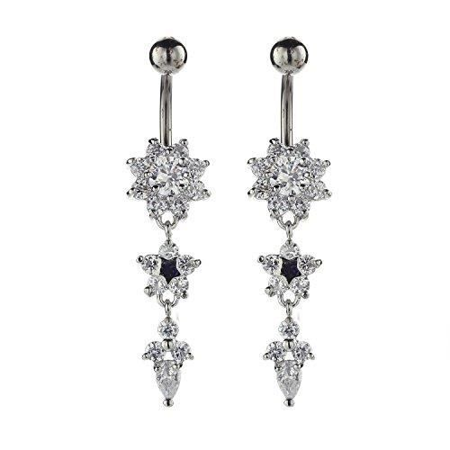 Boucles d'oreille P5IYU Women's Long Dangling Cz Flower Belly Rings Piercing Jewelry Steel Body Dangle Belly Bellow Button