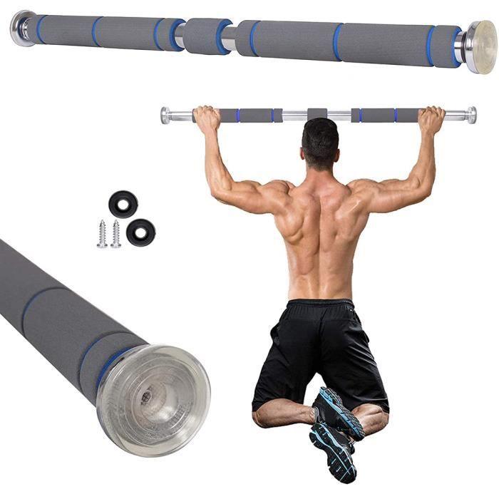 CASNELY Barre de traction de porte 80-130cm, Pull up Bar Equipement de Fitness à domicile (Gris)