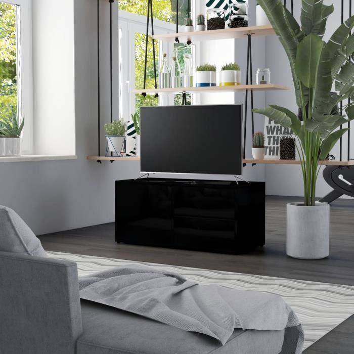 Meuble TV avec 2 tiroirs et 1 compartiment avec porte Aggloméré - 80 x 34 x 36 cm - Style contemporain - Noir brillant