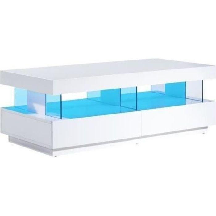 Table basse led laqué blanc brillant 120cm 4 tiroirs MALEA