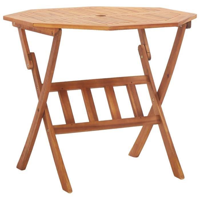 Table de Jardin Pliable - Table de reception pliante fête Buffet Jardin Camping Party- 90x75 cm Bois d'acacia massif