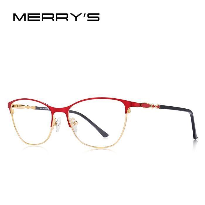 Montures de Lunettes de vue,MERRYS lunettes yeux de chat femme DESIGN tendance, lunettes à monture complète pour - Type C02 Red
