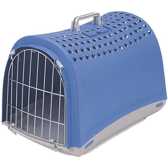 VADIGRAN Transport plastique Linus - 50x32x34,5 cm - Bleu - Pour chat