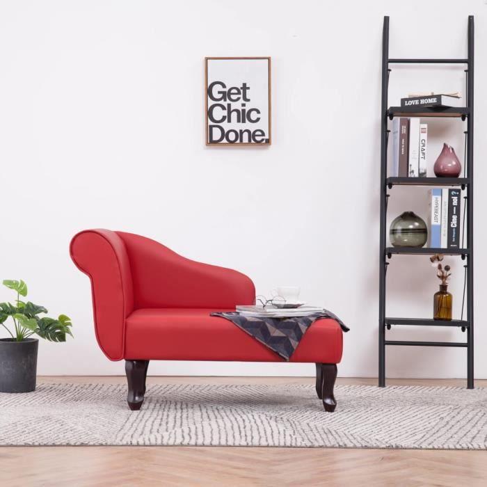 KING'4261Parfait Chaise longue Méridienne Scandinave & Confort - Chaise de Relaxation Fauteuil de massage Relax Massant Rouge Simili