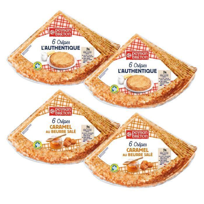 LOT 4 SACHETS CREPES X6 : 2 sachets Nature + 2 sachets Caramel beurre salé - Prix du LOTCrêpes bretonnes au bon lait de Bretagne