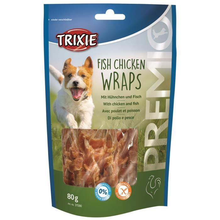 TRIXIE Fish Chicken Wraps Premio - Pour chien - 80g