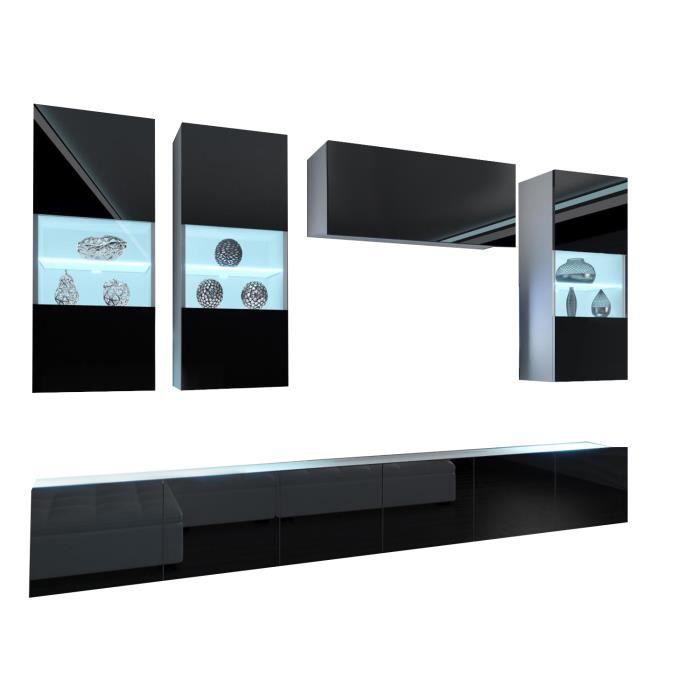 RAMONE - Ensemble meubles TV - Unité murale style moderne - Largeur 300 cm - Mur TV à suspendre finition gloss - Noir-Blanc