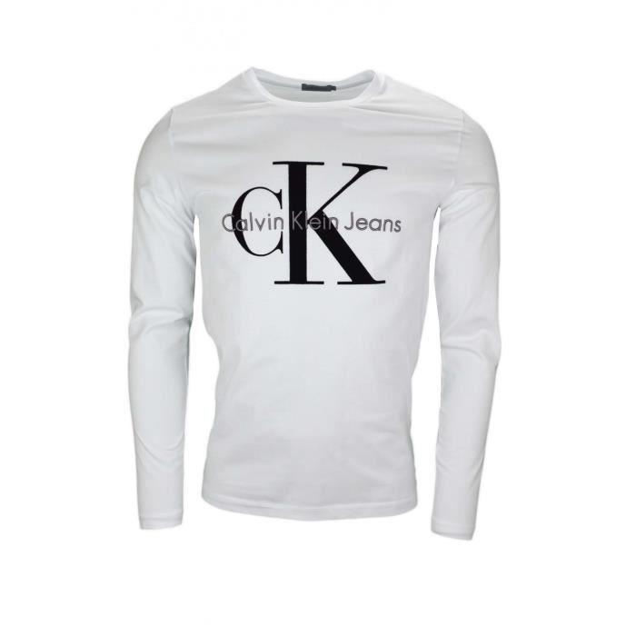T-shirt manches longues Calvin Klein blanc pour homme - Taille: XL - Couleur: Blanc