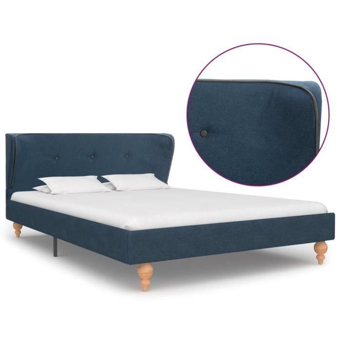 Cadre de lit Lit adulte contemporain coucher chambre Bleu Tissu 120 x 200 cm