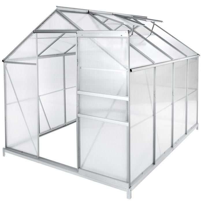 TECTAKE Serre de Jardin Polycarbonate 4,41 m² + 1 Embase en Acier
