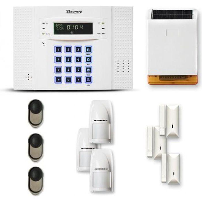 Alarme maison sans fil DNB 3 à 4 pièces mouvement + intrusion + sirène extérieure solaire - Compatible Box / GSM