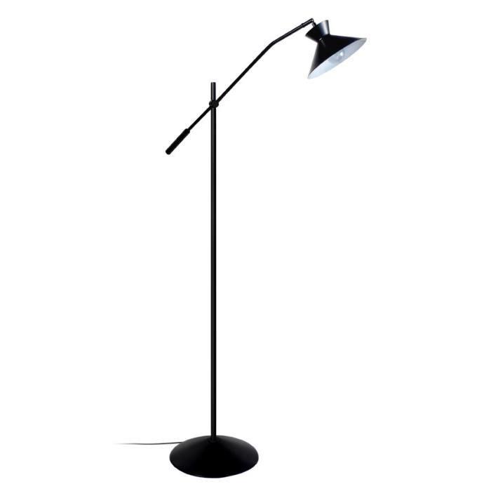 LEEDS Lampadaire en acier 1 lumière - Abat-jour Conique en acier - 90 x 25 x H175 cm - Noir - E27
