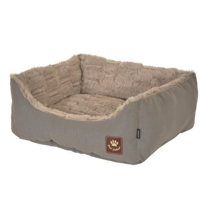 VADIGRAN Panier Asma - 75 x 60 cm - Taupe et gris - Pour chiens