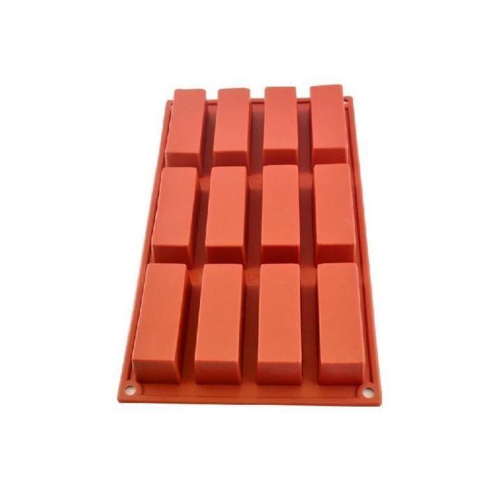 Moule en silicone pour savons-chocolats 12 cavités rectangulaires
