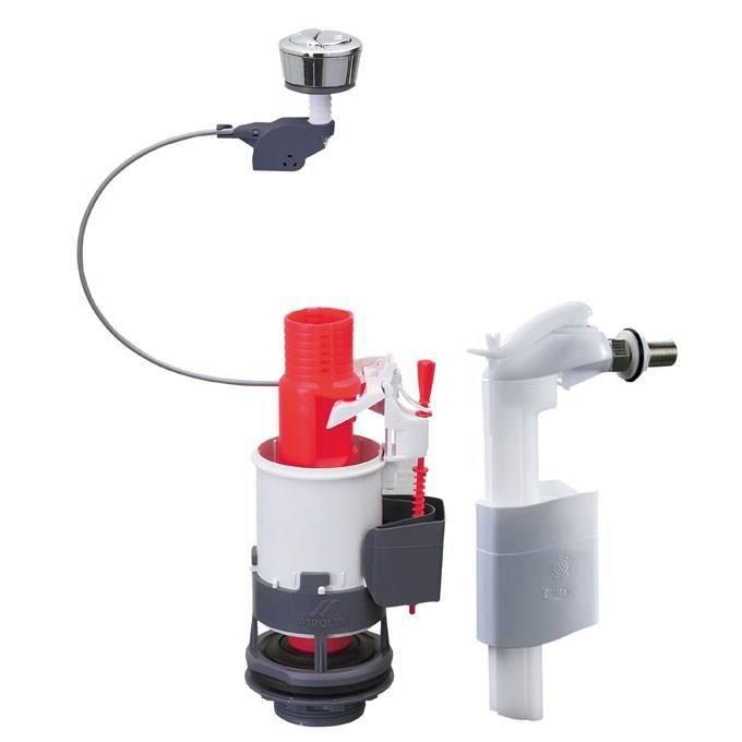 WIRQUIN Mécanisme de WC MW² - Economiseur d'eau à câble double boutons-poussoirs + Robinet flotteur latéral F90
