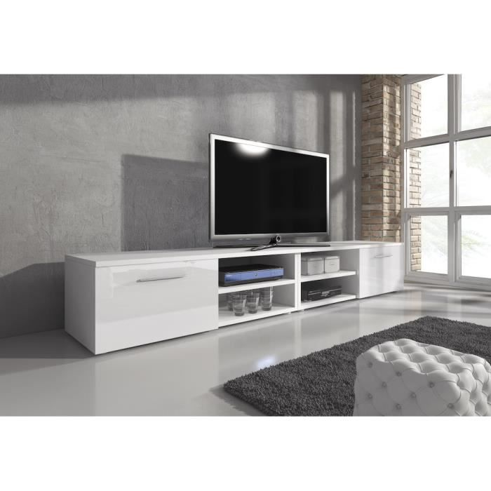 reno meuble tv contemporain d cor blanc 240 cm achat vente meuble tv reno meuble tv. Black Bedroom Furniture Sets. Home Design Ideas