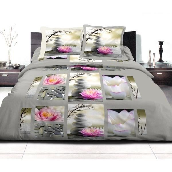 housse de couette 220x240 cm microfibre lotus 2 taies d oreiller 63x63 cm 100 polyester. Black Bedroom Furniture Sets. Home Design Ideas