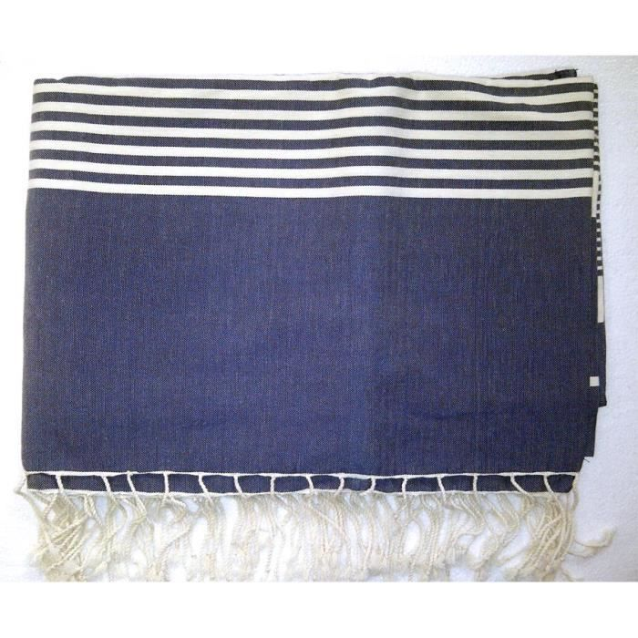 couvre lit dessus de lit fouta bleu 2 x 3m achat. Black Bedroom Furniture Sets. Home Design Ideas