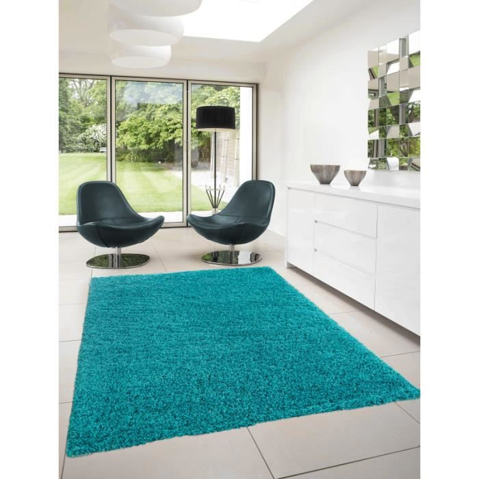 tapis dream shaggy 4000 turquoise 80 x 150 cm achat vente tapis cdiscount. Black Bedroom Furniture Sets. Home Design Ideas