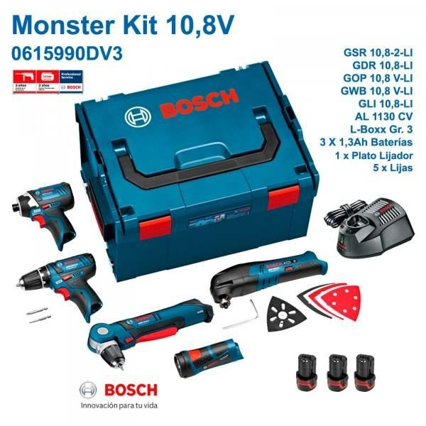 bosch monster kit 10 8 v li professional 0 615 achat vente pack de machines outil cdiscount. Black Bedroom Furniture Sets. Home Design Ideas