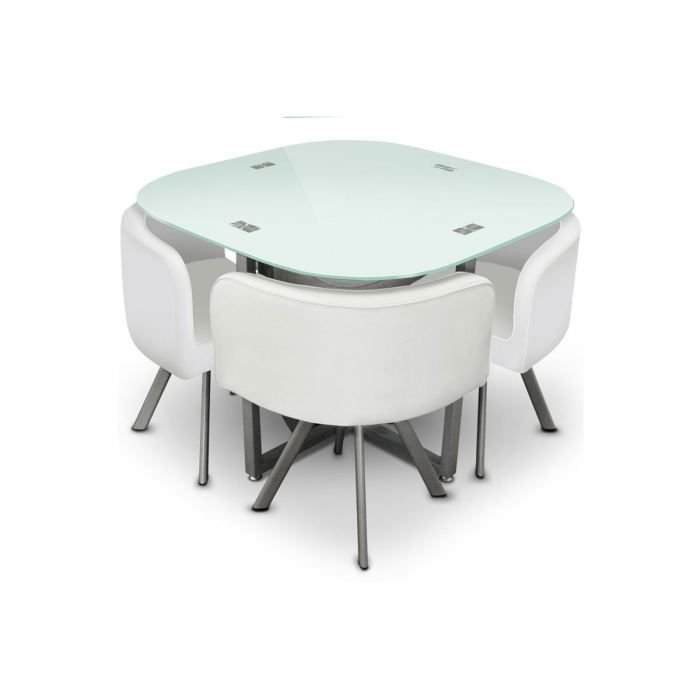 Table manger verre 4 chaises blanches corner achat for Table a manger encastrable