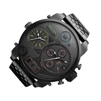 montre homme diesel dz7125 chrono acier bracelet cuir. Black Bedroom Furniture Sets. Home Design Ideas
