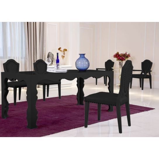 table a manger noir conceptions de maison. Black Bedroom Furniture Sets. Home Design Ideas