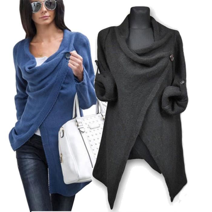 poncho pull femme gilet tricot cardigan pullover bouton chaud coton hiver demi saison da2s. Black Bedroom Furniture Sets. Home Design Ideas