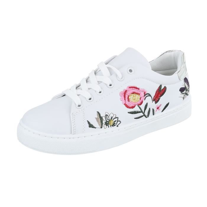 Femme chaussures loisirs chaussures Sneakers Chaussures de sport blanc argent 38