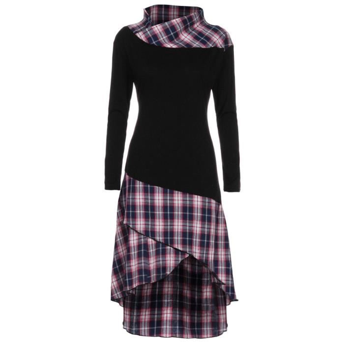 exquisgift®Femmes haut cou motif plaid patchwork robe manches longues VIOLET~YHL71204181PPA